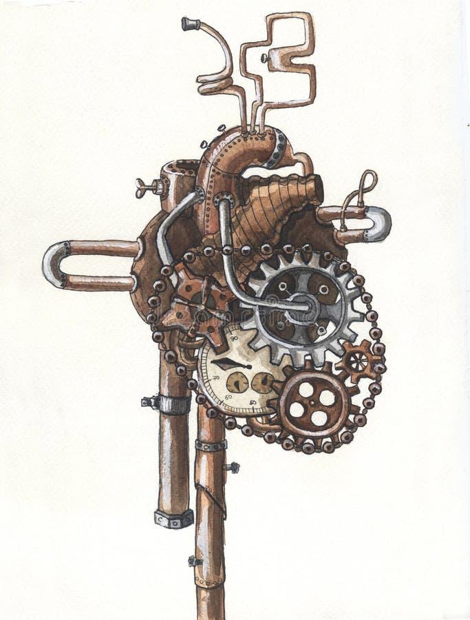 Corazón metálico del steampunk mecánico stock de ilustración