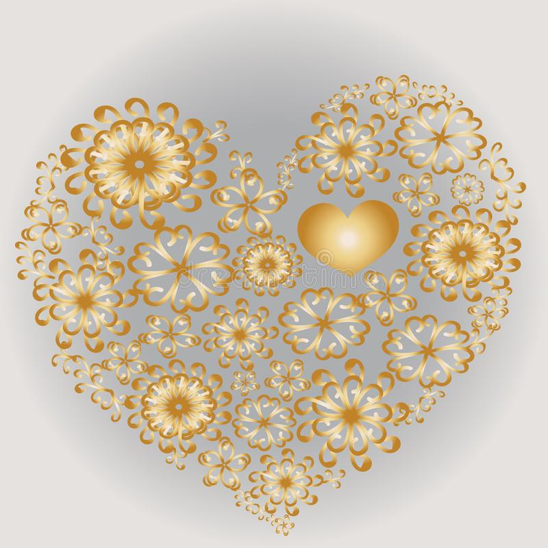 Corazón modelado de oro stock de ilustración