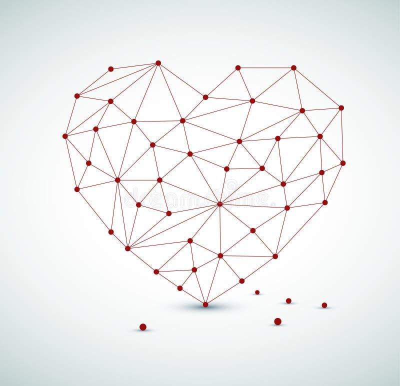 Corazón moderno hecho de triángulos libre illustration