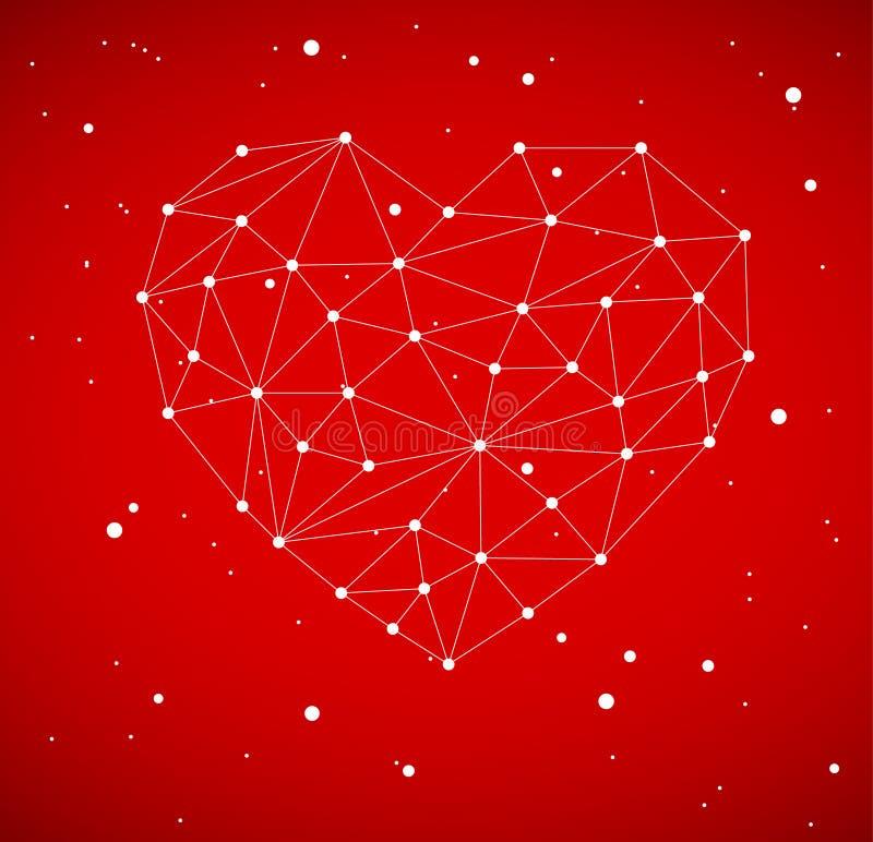 Corazón moderno hecho de triángulos stock de ilustración
