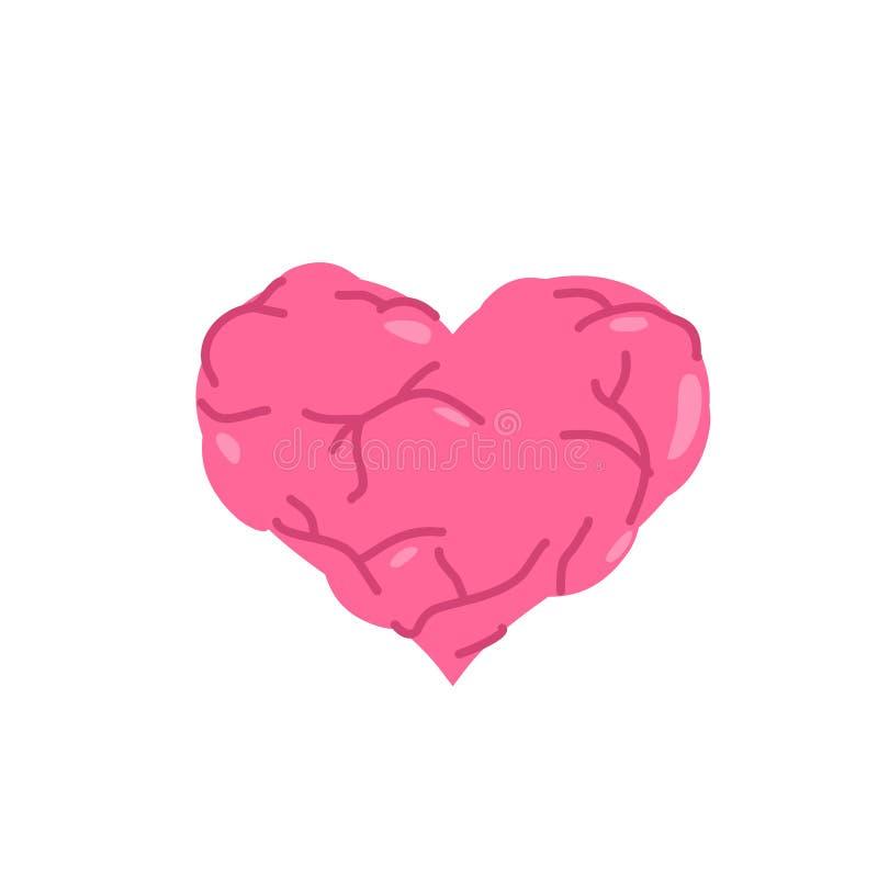 Corazón muscular Cuerpo bombeado Amor fuerte stock de ilustración