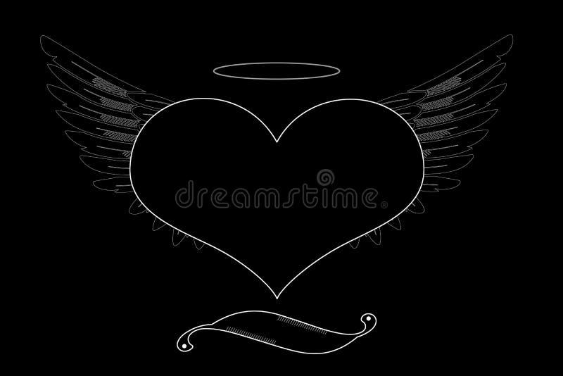 Corazón negro con las alas en un fondo negro stock de ilustración
