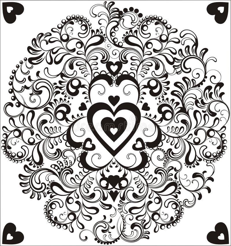 Corazón negro en círculo ornamental ilustración del vector