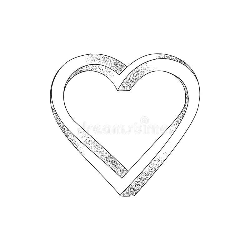 Corazón negro en el fondo blanco Ilusión óptica de los tres-di 3D libre illustration