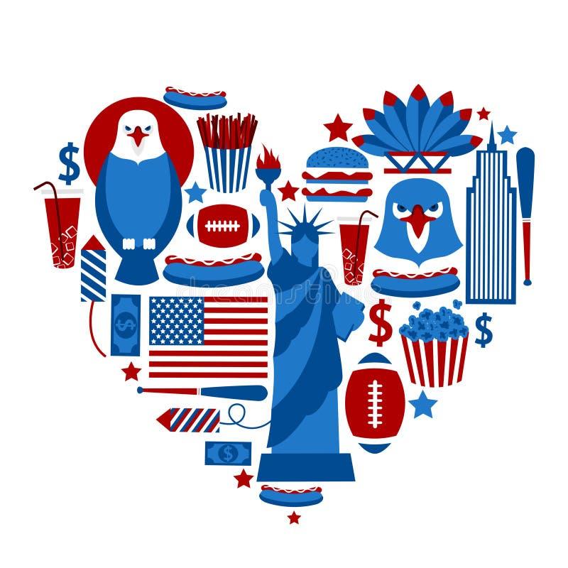 Corazón Nueva York los E.E.U.U. stock de ilustración