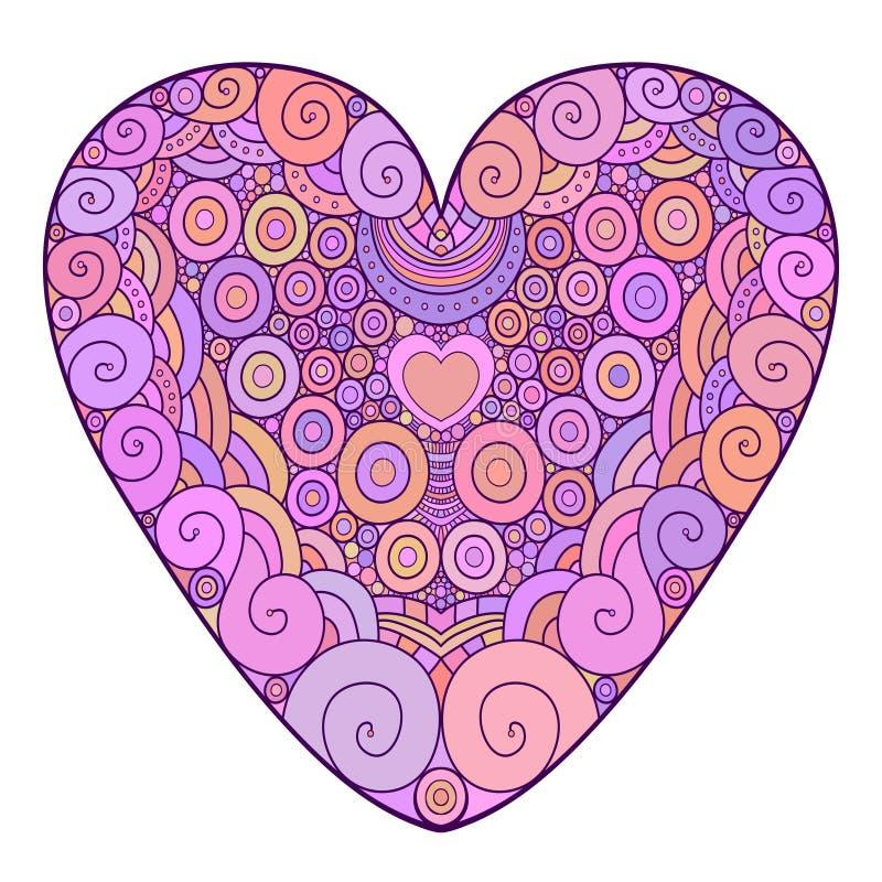 Corazón ornamental colorido Ejemplo del vector para la tarjeta de felicitación del día de San Valentín Página del libro de colore ilustración del vector