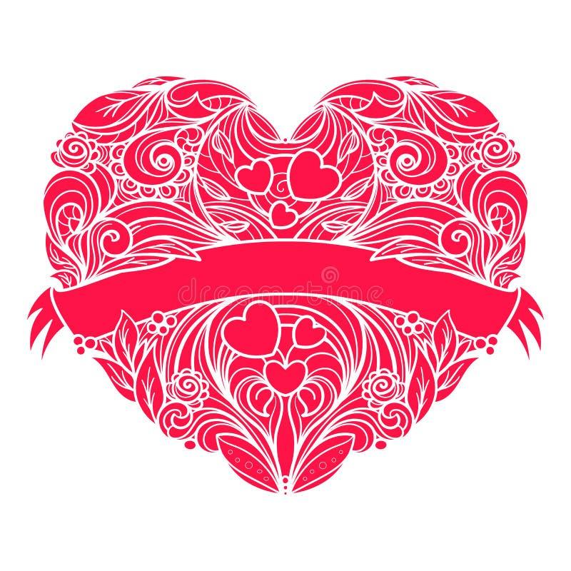 Corazón ornamental del vector con la cinta a través de ella stock de ilustración