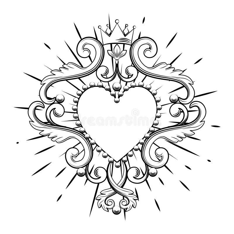 Corazón ornamental hermoso con la corona en color negro aislada en el fondo blanco Ilustración del vector libre illustration