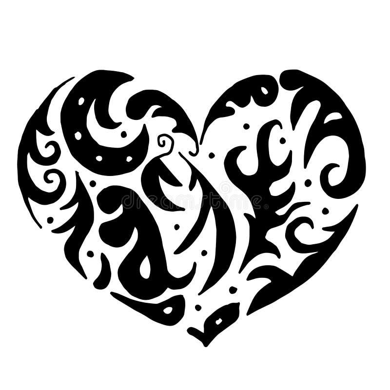 Corazón Para Colorear O El Tatuaje Ilustración del Vector ...