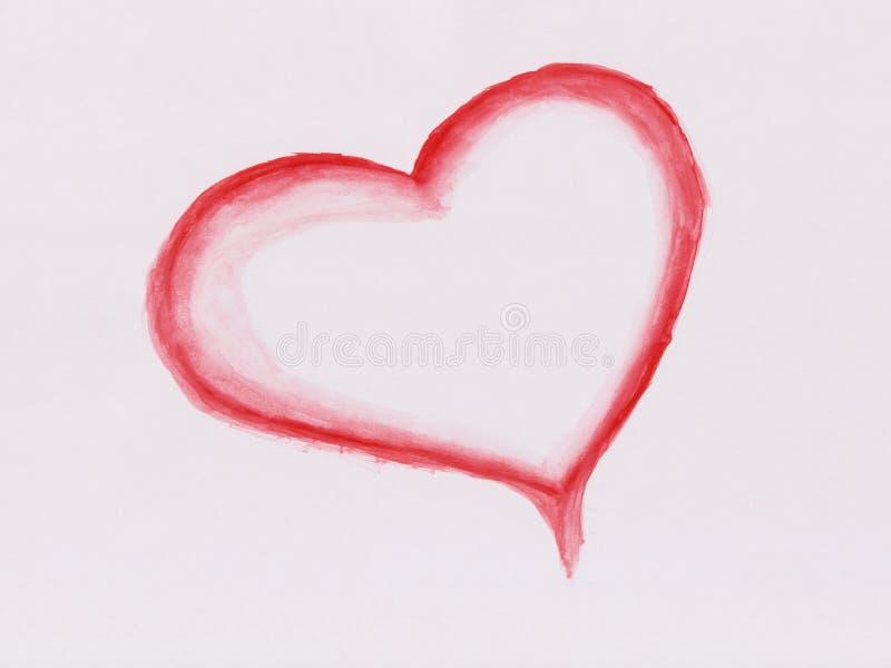 Corazón pintado acuarela ilustración del vector