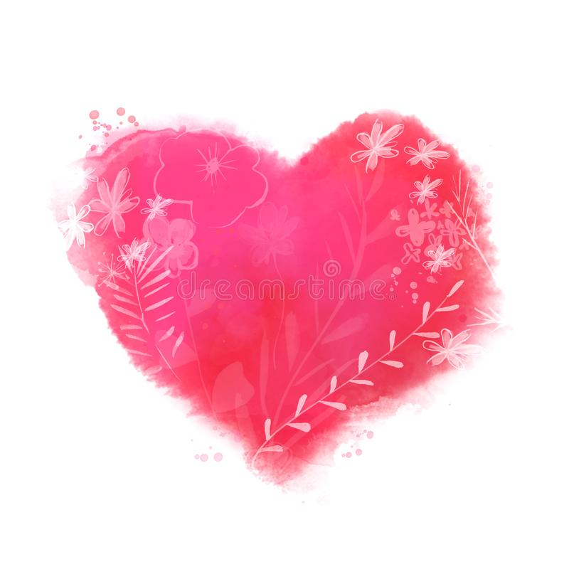 Corazón pintado hermoso con las flores y las hojas Ame el símbolo para las tarjetas de felicitación del día del ` s de la tarjeta stock de ilustración