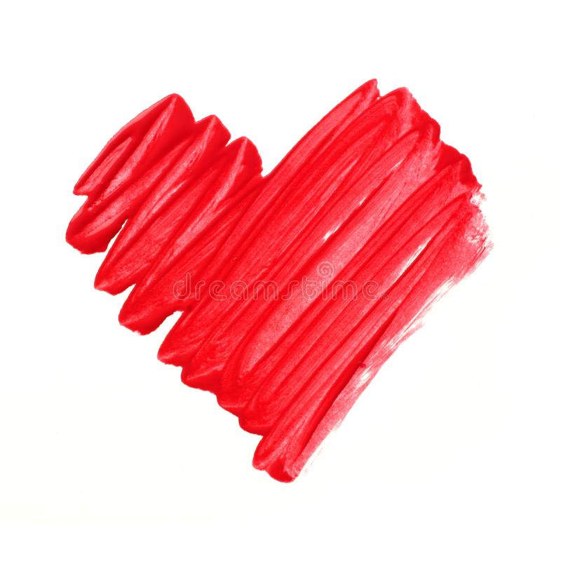 Corazón pintado rojo fotos de archivo