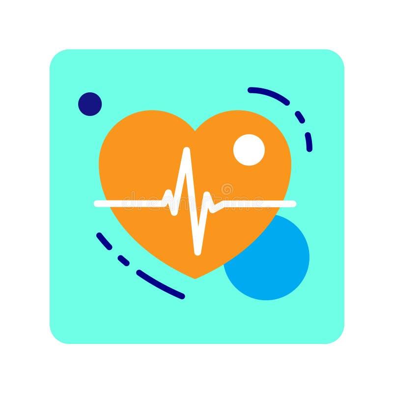 Corazón plano del icono del color Noción del origen de la vida stock de ilustración
