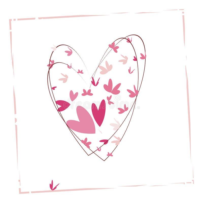 Corazón por completo del ejemplo del vector de las mariposas stock de ilustración