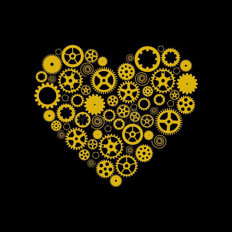 Corazón que consiste en los engranajes De oro en un fondo negro Vector imagen de archivo