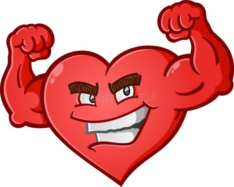 Corazón que dobla el personaje de dibujos animados de los músculos ilustración del vector