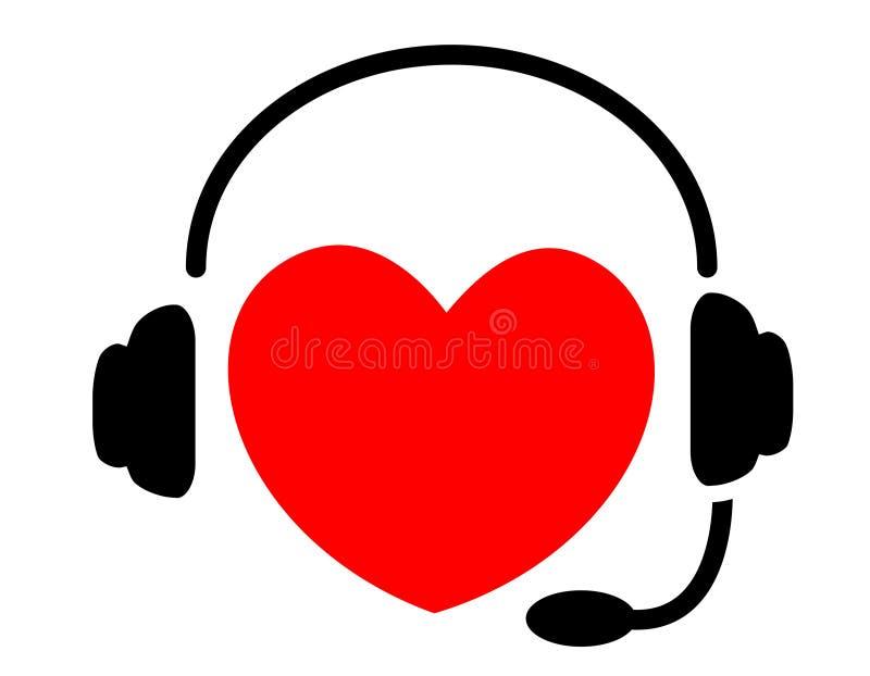 Corazón que escucha la música stock de ilustración