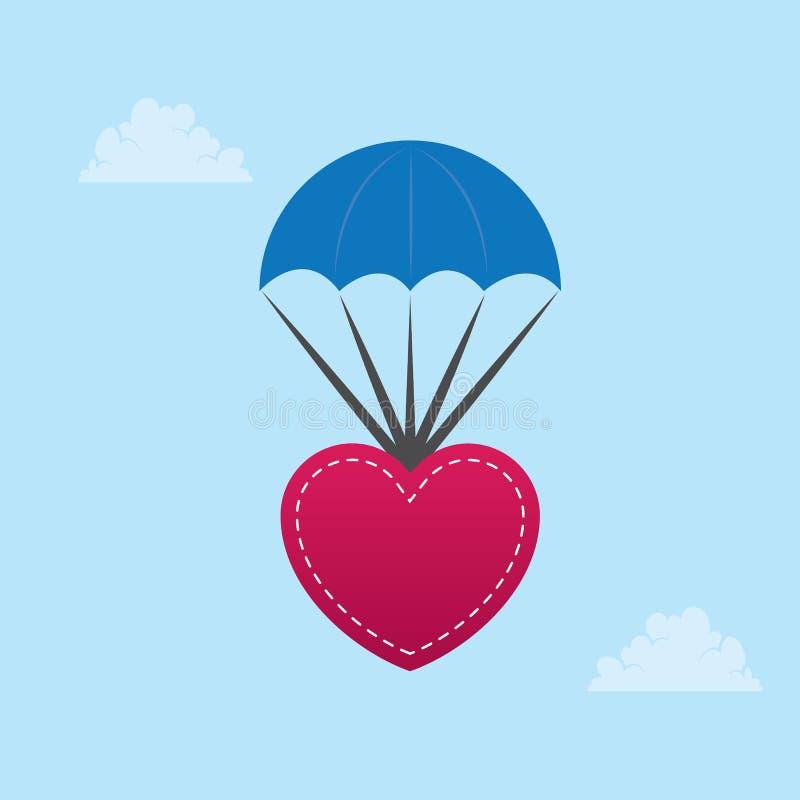Corazón que se lanza en paracaídas ilustración del vector