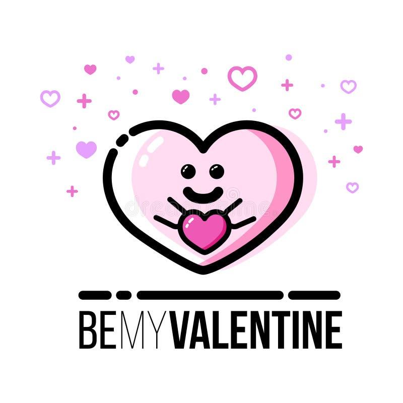 Corazón que sostiene el regalo Tarjeta de felicitación de Valentine Day del santo Línea plana icono del estilo libre illustration