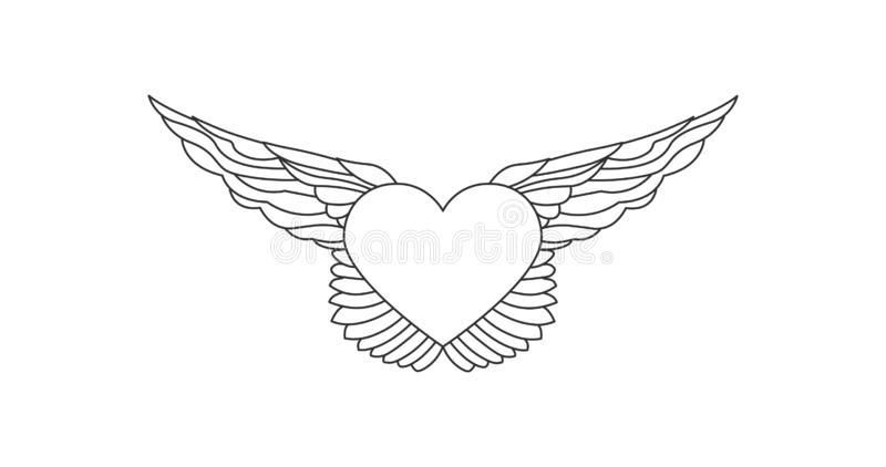Corazón que vuela con la línea ejemplo de las alas con el movimiento concepto del nLove Elemento her?ldico linear del tatuaje Ilu ilustración del vector