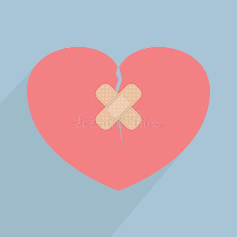 Corazón quebrado con el vendaje ilustración del vector