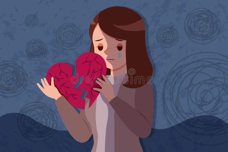 Corazón quebrado del control de la mujer libre illustration