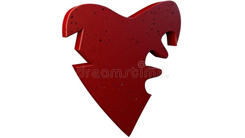 corazón quebrado del ejemplo 3D representación 3d en el fondo blanco libre illustration