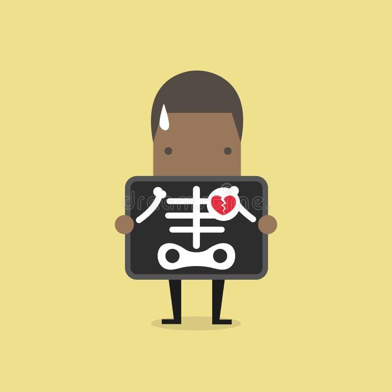 Corazón quebrado del hombre de negocios africano con la exploración de la radiografía, angustia libre illustration