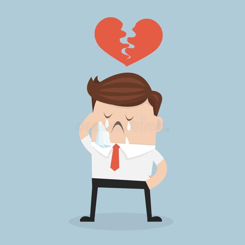 Corazón quebrado del hombre de negocios, angustia, estilo plano del diseño del illustion del vector libre illustration