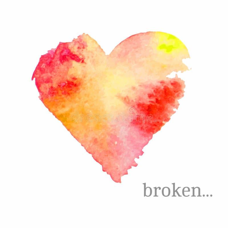 Corazón quebrado del vector hecho de acuarela Emblema Handdrawn del humor ilustración del vector