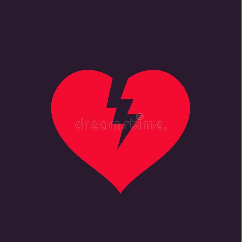 Corazón quebrado, ejemplo del vector de la angustia libre illustration
