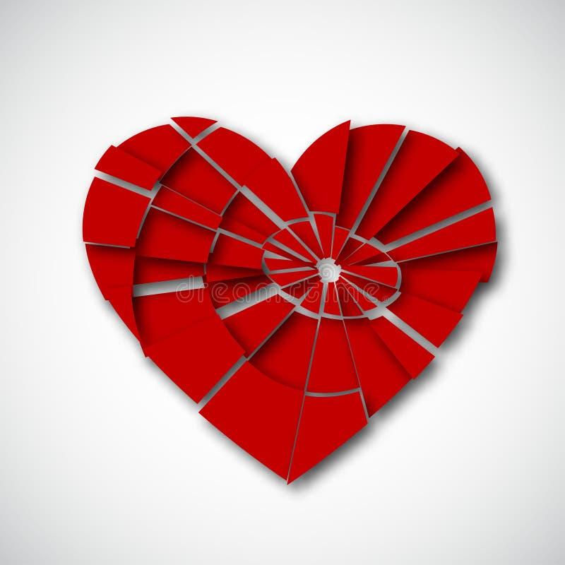 Corazón quebrado en blanco stock de ilustración