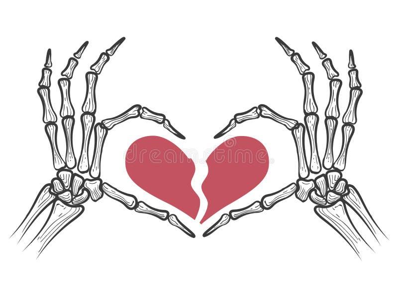 Corazón quebrado en manos esqueléticas ilustración del vector