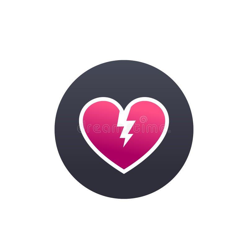 Corazón quebrado, icono redondo del vector de la angustia stock de ilustración