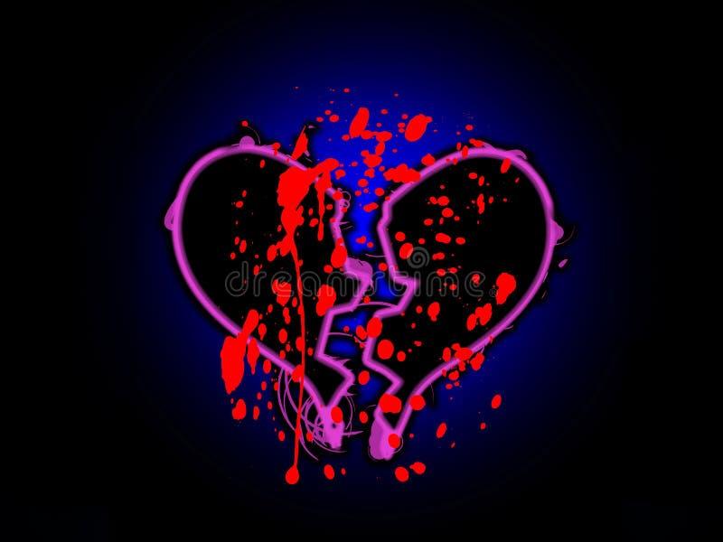 Corazón quebrado manchado sangre ilustración del vector