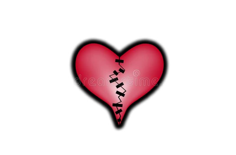 Corazón quebrado reparado ilustración del vector