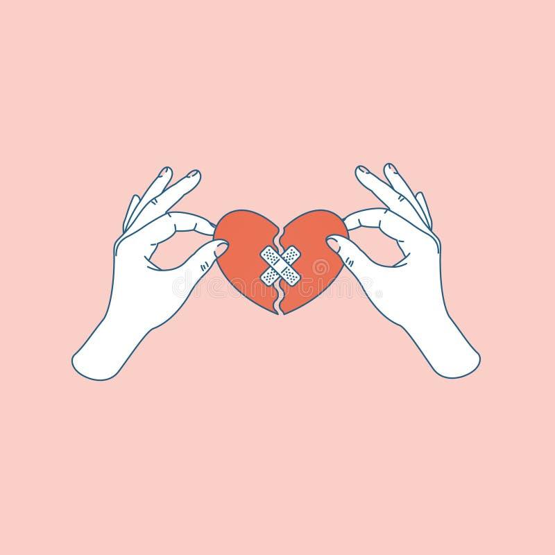 Corazón quebrado reparado tenencia de la mano de la mujer Corazón quebrado fijo Ilustración del vector stock de ilustración
