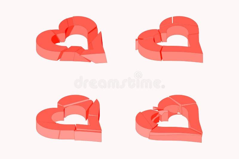 Corazón quebrado rojo del concepto isométrico del color Los elementos de este ejemplo del vector se pueden utilizar en diverso am foto de archivo