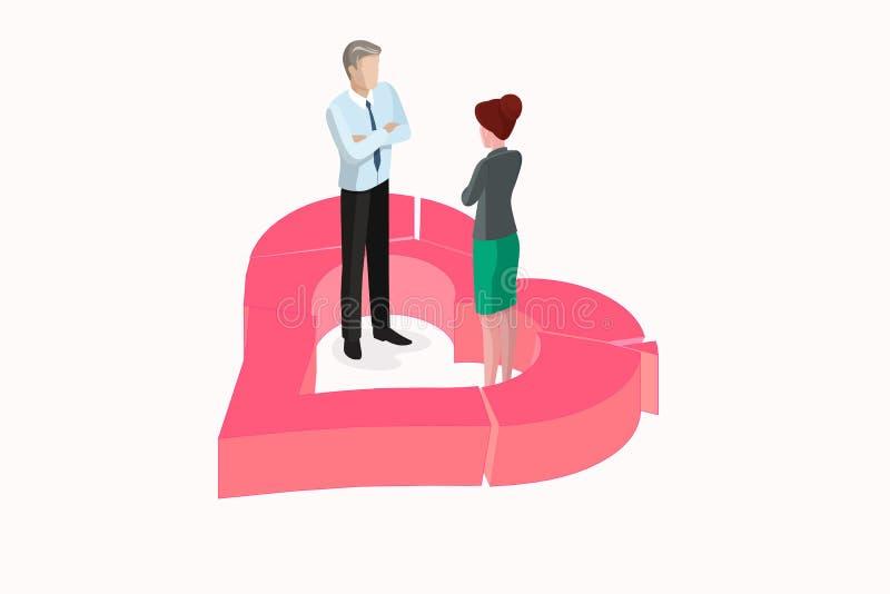 Corazón quebrado rojo del concepto isométrico del color Los elementos de este ejemplo del vector se pueden utilizar en diverso am imagen de archivo libre de regalías
