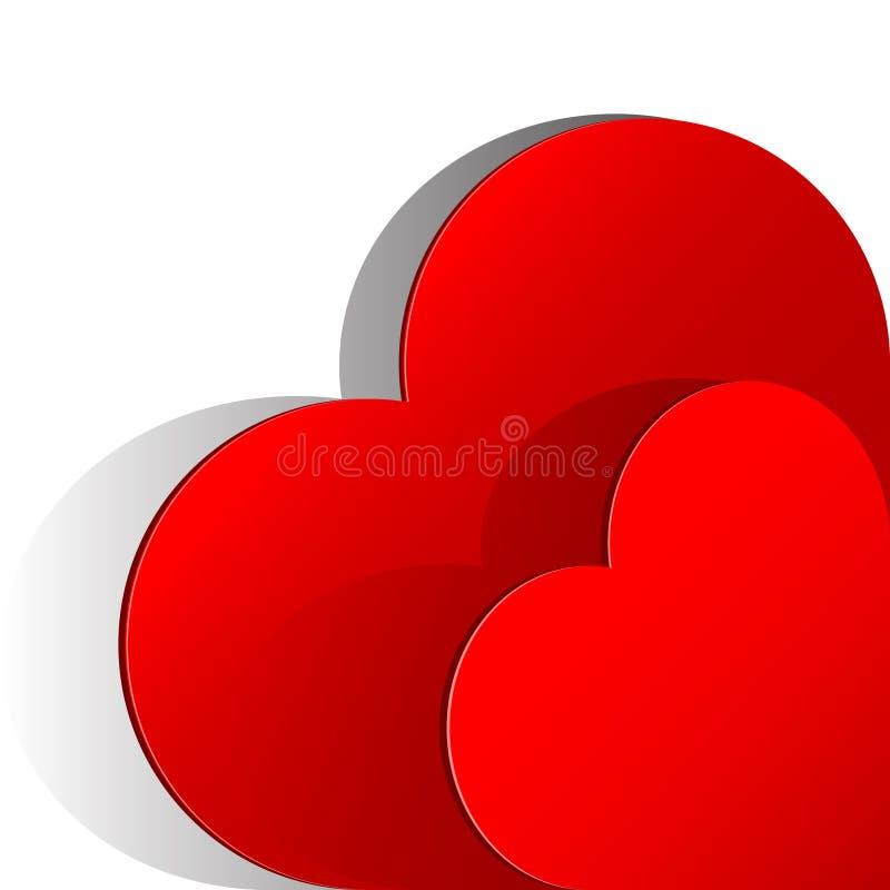 Corazón realista de dos rojos cortado del papel. stock de ilustración
