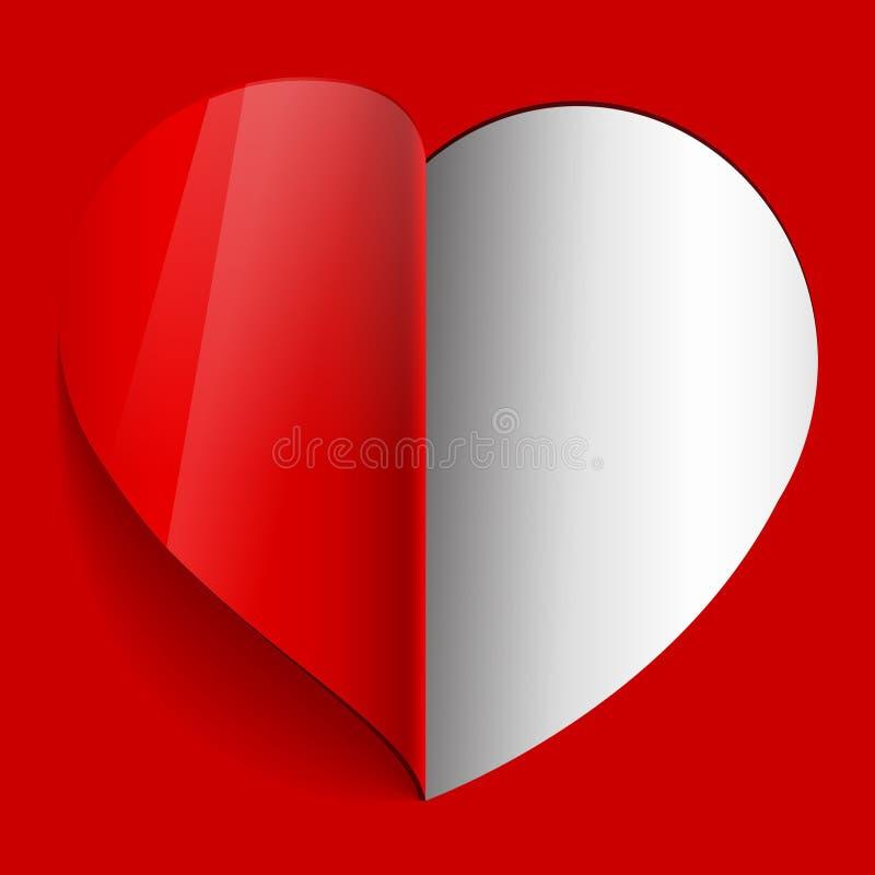Corazón realista del papel. El día de tarjeta del día de San Valentín libre illustration
