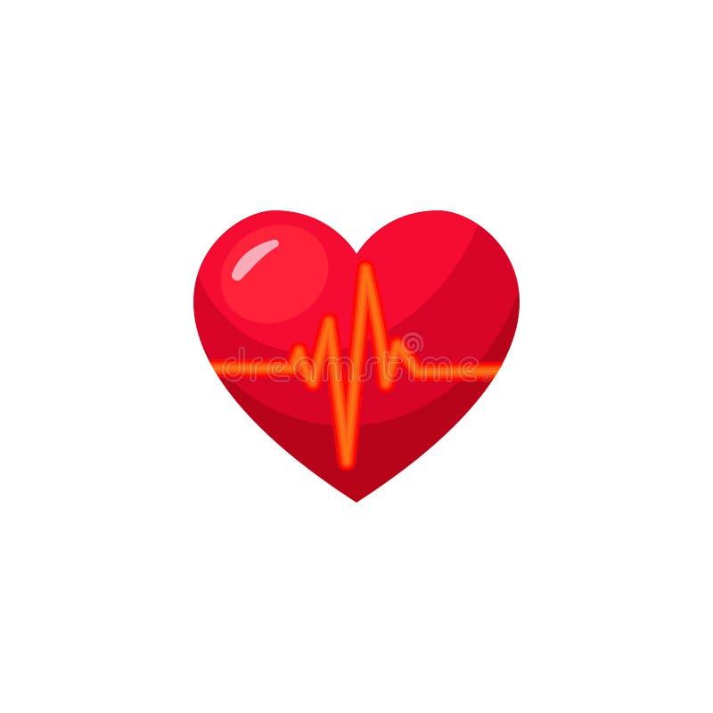 Corazón realista del vector con pulso libre illustration