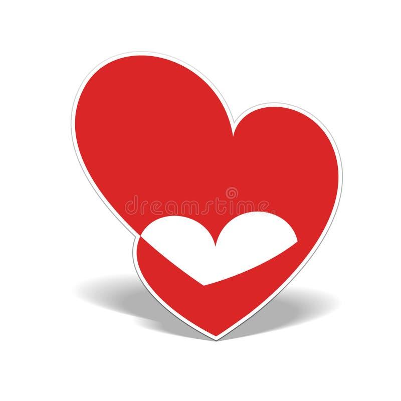 Corazón realista dos cortado del papel ilustración del vector