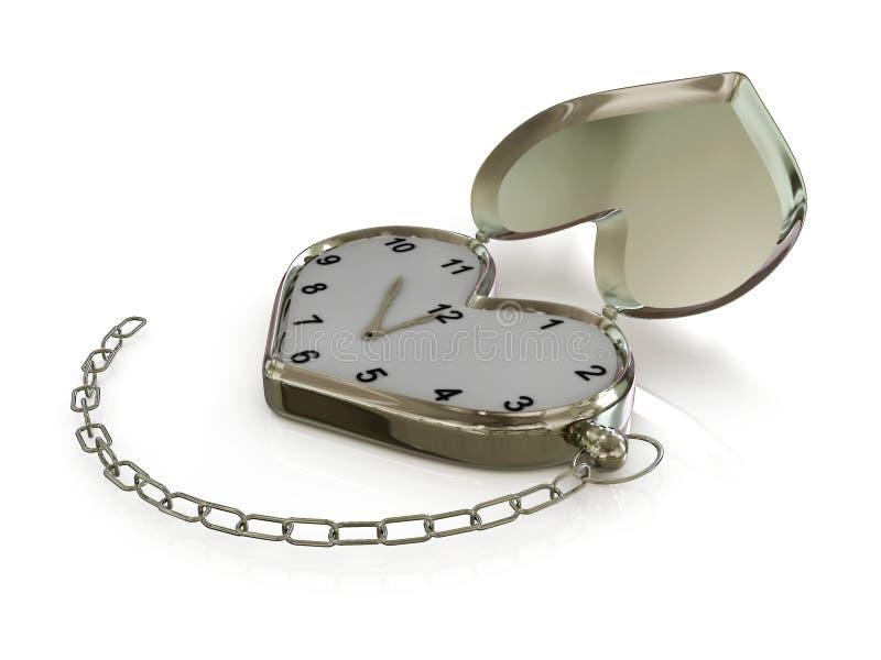 Corazón-reloj con el encadenamiento. 3D ilustración del vector