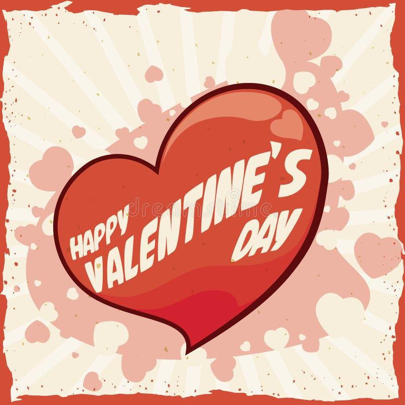 Corazón retro con el texto del día de tarjeta del día de San Valentín, ejemplo del vector stock de ilustración