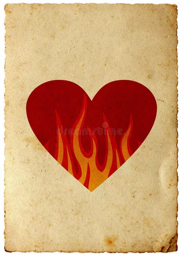 Corazón retro en llamas stock de ilustración