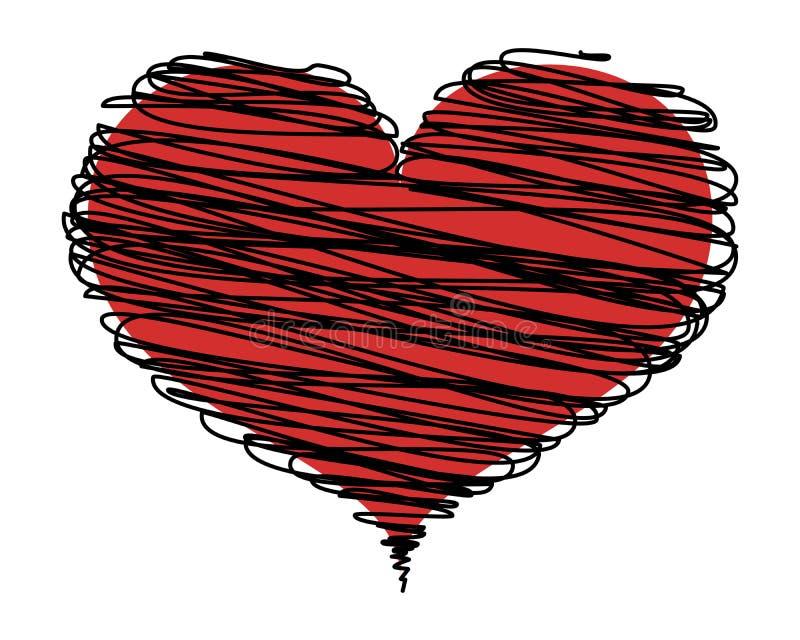 Corazón rojo abstracto con las líneas negras, icono Elemento del diseño del vector aislado en fondo ligero stock de ilustración