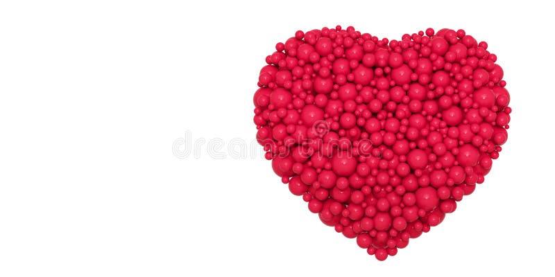Corazón rojo abstracto de bolas - ejemplo 3D ilustración del vector