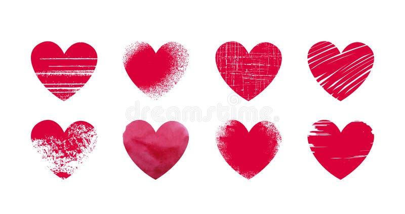 Corazón rojo abstracto, grunge Fije los iconos o los logotipos en el tema del amor, boda, salud, día del ` s de la tarjeta del dí ilustración del vector