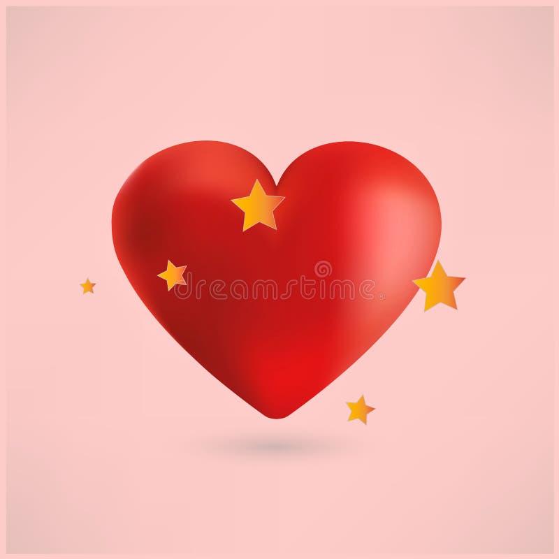 Corazón rojo brillante con las estrellas, fondo rosado fotos de archivo libres de regalías